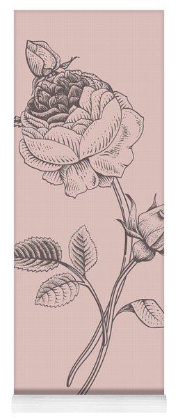 Rose Blush Pink Flower Yoga Mat