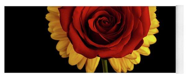 Rose On Yellow Flower Black Background Yoga Mat