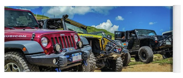 Row Of Jeeps Yoga Mat