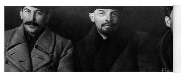 Russian Revolutionaries Leaders Josef Stalin, Vladimir Lenin And Mikhail Kalinin In 1919 Yoga Mat