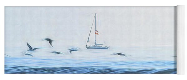 Sailboat Beyond The Surf Yoga Mat