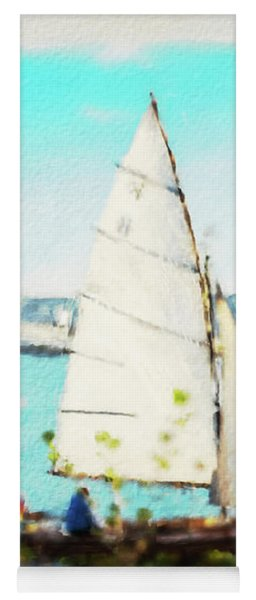 Sailboat On The River Watercolor Yoga Mat