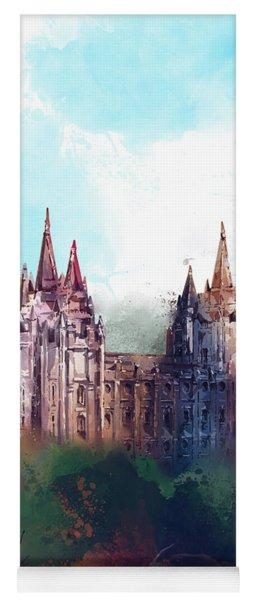 Salt Lake City Temple Watercolor Yoga Mat