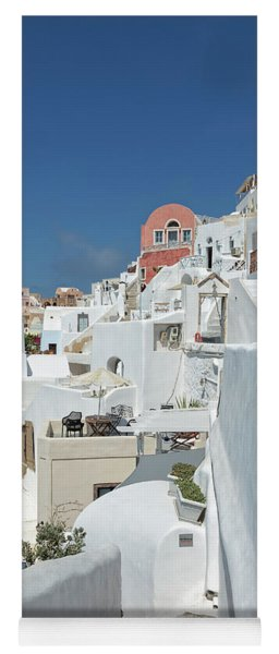 Yoga Mat featuring the photograph Santorini And Up by Kay Brewer