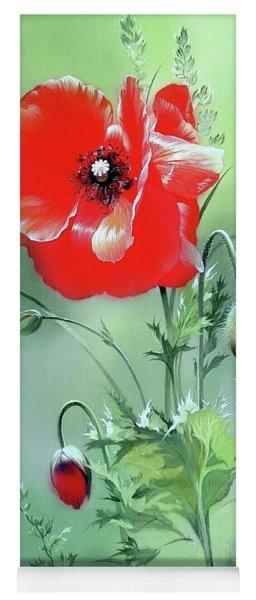 Scarlet Poppy Flower Yoga Mat