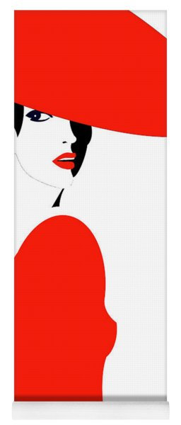 Lady In Red Yoga Mat