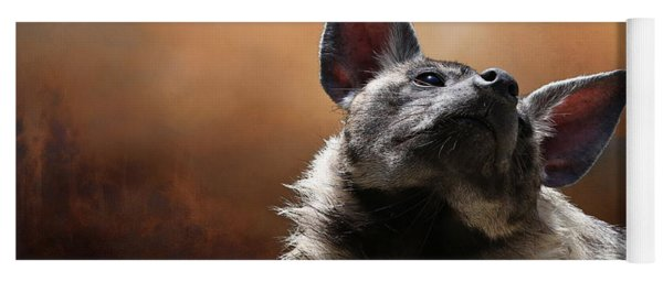 Yoga Mat featuring the photograph Scenting The Air - Striped Hyena by Debi Dalio