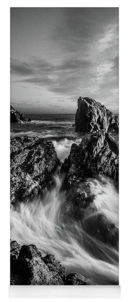 Sea Waves Flowing On Rocks In Manarola, Black And White Fine Art Yoga Mat