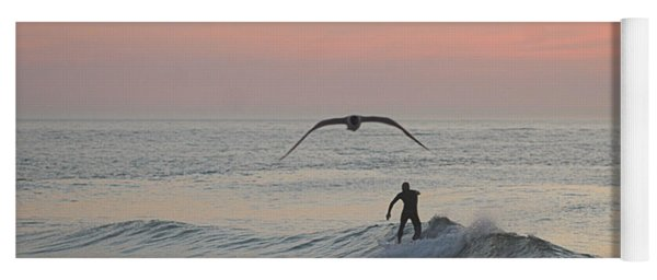 Seagull And A Surfer Yoga Mat