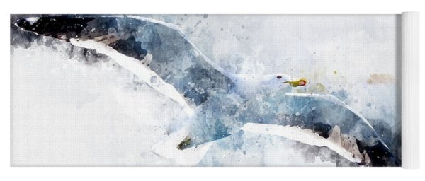 Seagull In Flight With Watercolor Effects Yoga Mat