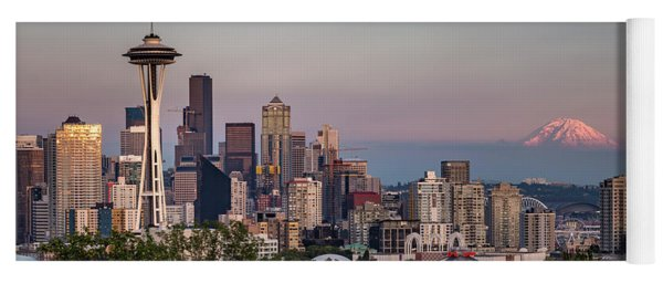 Yoga Mat featuring the photograph Seattle Skyline And Mt. Rainier Panoramic by Adam Romanowicz