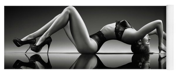 Sensual Woman With Lingerie Yoga Mat