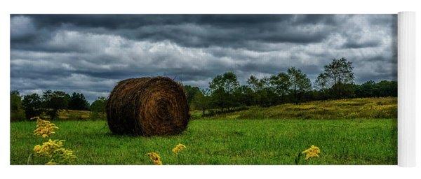 September Stormy Sky Hay Bale Yoga Mat