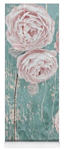 Shabby Chic Roses Distressed Yoga Mat
