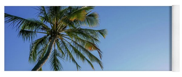 Shades Of Blue And A Palm Tree Yoga Mat