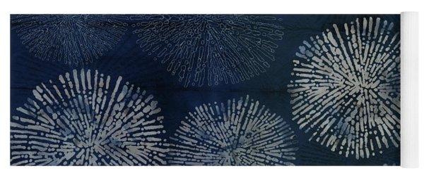 Shibori Sea Urchin Burst Pattern Dark Denim Yoga Mat