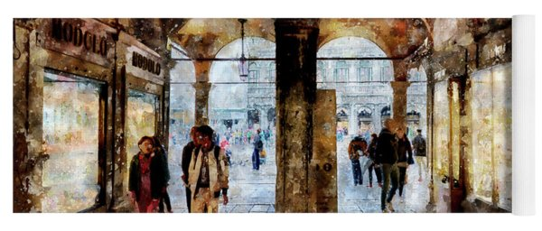 Shopping Area Of Saint Mark Square In Venice, Italy - Watercolor Effect Yoga Mat