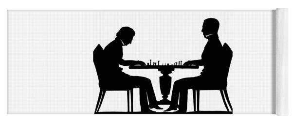 Silhouette Of Chess Players, Around 1845 Yoga Mat