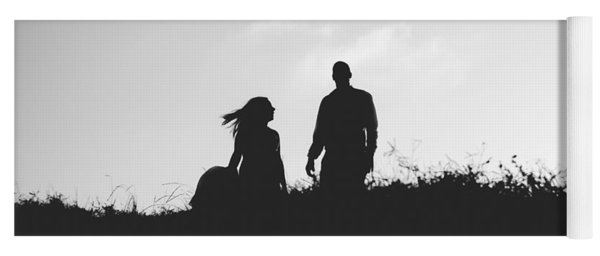 Silhouette Of Couple In Love With Wedding Couple On Top Of A Hil Yoga Mat