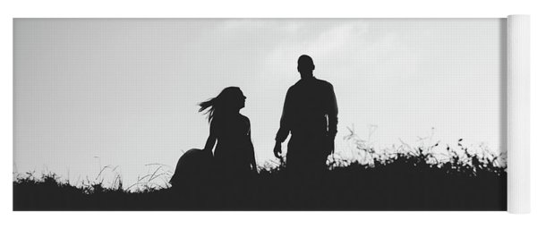 Silhouette Of Couple In Love With Wedding Couple On Top Of A Hill Yoga Mat