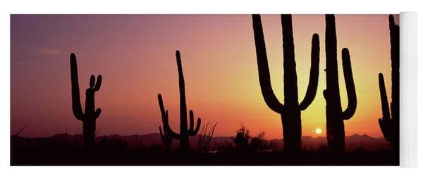 Silhouette Of Saguaro Cacti Carnegiea Yoga Mat
