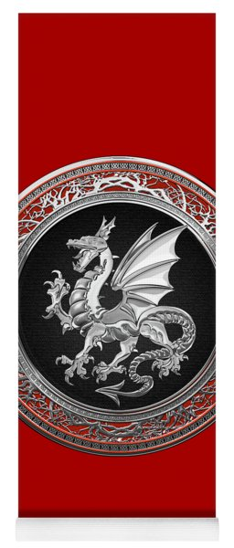 Silver Winged Norse Dragon - Icelandic Viking Landvaettir On Black And Silver Medallion Over Red  Yoga Mat