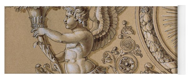 Silverwork Design Depicting A Cherub With Acanthus Leaves Circa 1800 Yoga Mat