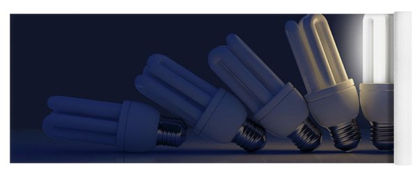 Single Light Bulb Illuminated In Row Yoga Mat