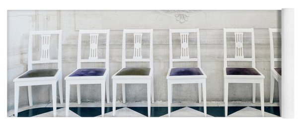 Yoga Mat featuring the photograph Six Rodin Chairs by Craig J Satterlee