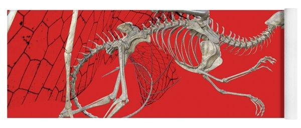 Skeleton Dragon With Red Yoga Mat