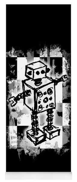 Sketched Robot Graphic Yoga Mat