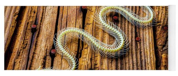 Snake Skeleton On Wooden Boards Yoga Mat