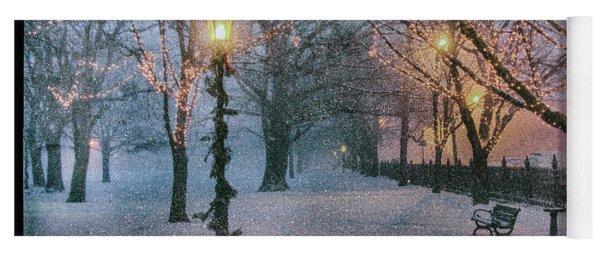 Snow Falling On Salem Path Yoga Mat
