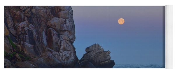 Snow Moon And Morro Rock Yoga Mat