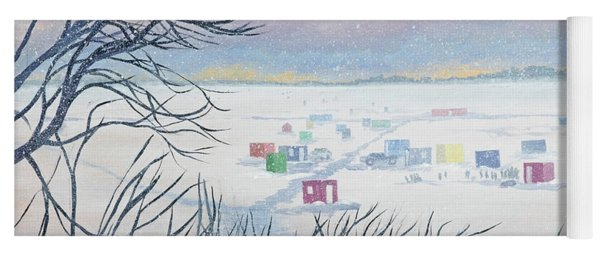 Snow Shower On The Winter Lake Yoga Mat