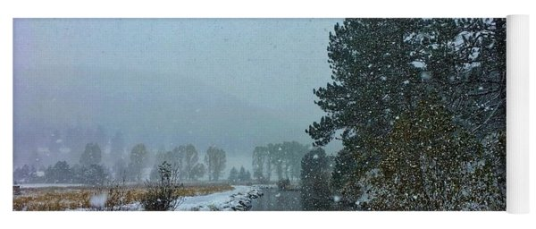 Yoga Mat featuring the photograph Snowstorm At The Lake by Dan Miller