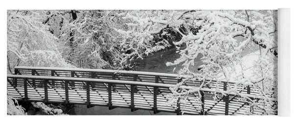 Snowy Bridge On Mill Creek Yoga Mat