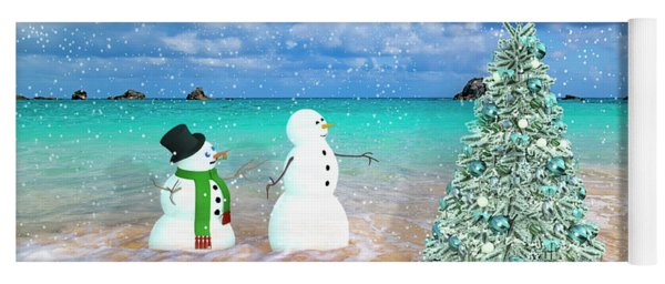 Snowy Couple On Christmas Tree Beach Yoga Mat