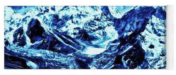 Snowy Mountains On Moonlit Night Yoga Mat