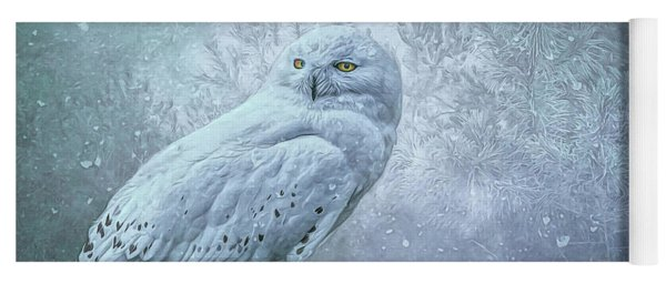 Snowy Owl In Winter Yoga Mat