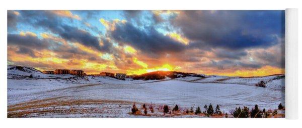 Snowy Sunset Yoga Mat