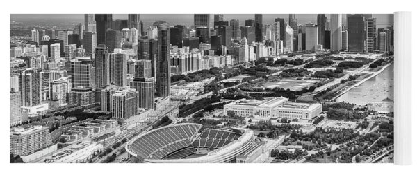 Yoga Mat featuring the photograph Soldier Field And Chicago Skyline Black And White by Adam Romanowicz