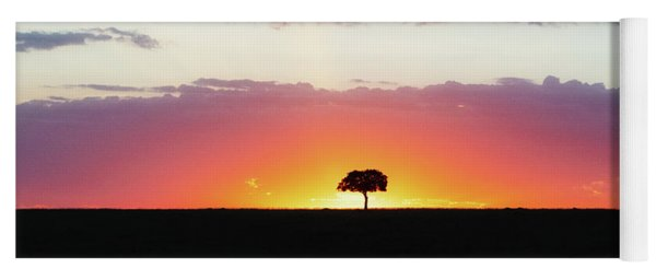 Solitary Tree Silhouette At Colorful African Sunset Yoga Mat