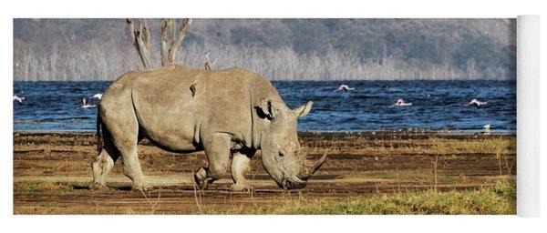 Southern White Rhino Walking In Lake Nakuru Yoga Mat