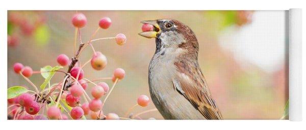 Sparrow Eating Berries Yoga Mat
