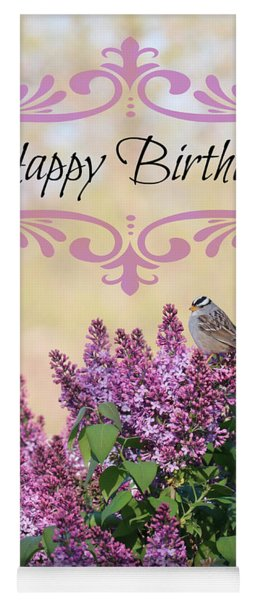 Sparrow In Lilacs Birthday Card Yoga Mat