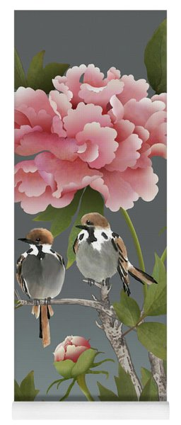 Sparrows And Peony Yoga Mat