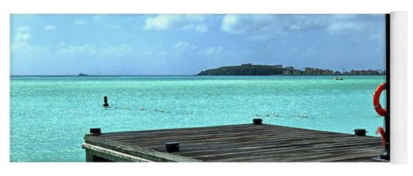 Yoga Mat featuring the photograph St. Maarten Pier In Aqua Caribbean Waters by Bill Swartwout Fine Art Photography