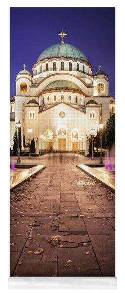 St. Sava Temple In Belgrade Nightscape Yoga Mat