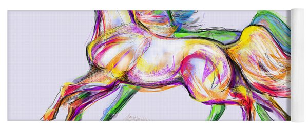 Crayon Bright Horses Yoga Mat